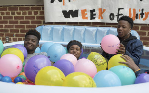 "WE'RE BALL IN THIS TOGETHER– Students play in the ""unity ball pit"" as part of the Tiger Alliance's initiative to bring unlikely allies together."