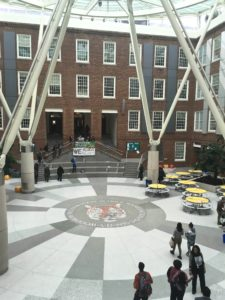 The atrium is mostly empty and classrooms are dark shortly after 9 a.m.