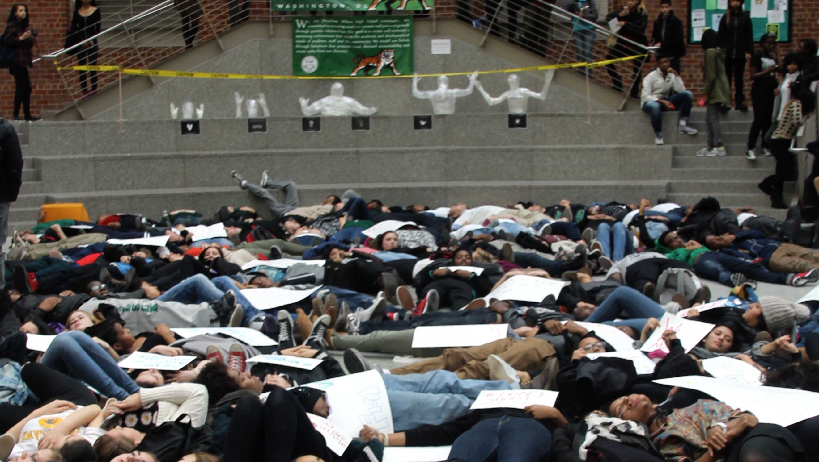 Die-in at Step in the Atrium