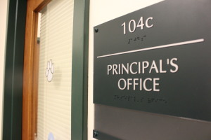 Former Principal Pete Cahall has vacated the premises. As of today Interim Principal Gregory Bargeman occupies this space.