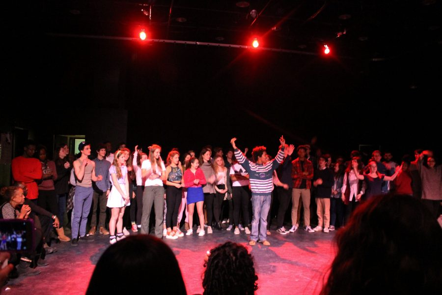 The whole cast of the One Act Festival takes a bow