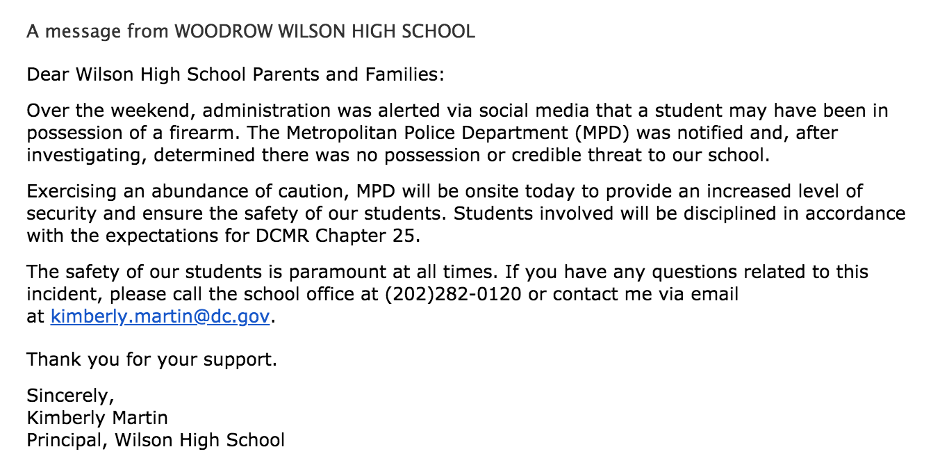 Principal Kimberly Martin sent an email to community members at around 8 am on Tuesday, May 29 to dispel rumors of a potential violent threat to Wilson.