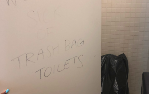 Trash bag toilet strikes again