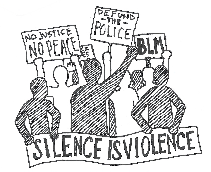 """SILENCE IS VIOLENCE"", ""NO JUSTICE NO PEACE"", ""DEFUND - THE - POLICE"", ""BLM"""