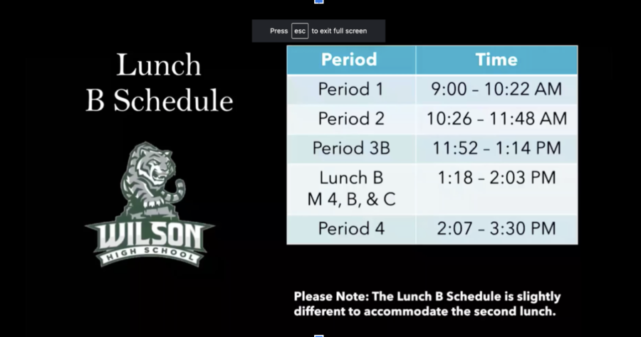 New schedule to include two lunch periods